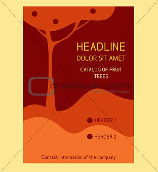 Brochure Flyer design vector template in A4 size. Fruit trees, apple
