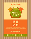 Logo for animal clinic. Brochure, Flyer design vector template in A4 size. Advertise store for pets. Icons for pet shop