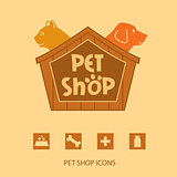 Logo with animals for pet shop. Cat and dog in the house. Vector logo,  label. Pet shop icons