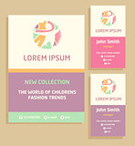 Vector logo, flyer and business card for a children's clothing store. Template advertising for children's clothing