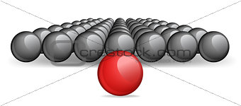 Follow the leader, Unique red ball Vector image