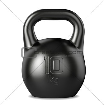 10 kilograms black kettlebell on white background