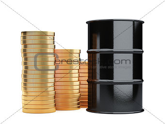 Black oil barrels and golden coins money cash isolated on white