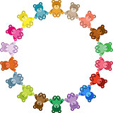 Colored Teddy Bear Round Frame