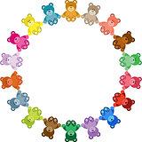 Colored Teddy Bear Round Frame