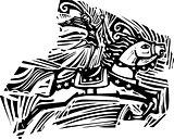 Circus Horse Woodcut