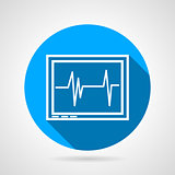 Round flat vector icon for cardiogram