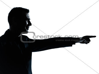 one business man pointing silhouette