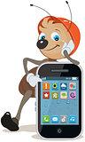 Ant in helmet shows on screen smartphone