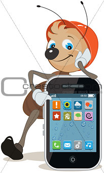 Ant in helmet shows on screen smartphone