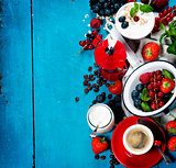 Healthy breakfast - yogurt with muesli and berries - health and