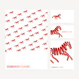 Set of business card and invitation card templates with red hors