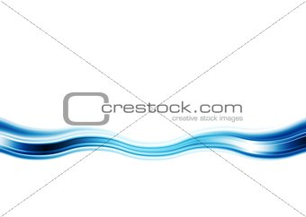 Bright blue abstract wave on white background