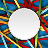 Colorful stripes vector background with blank circle