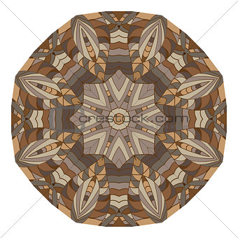 Abstract image with kaleidoscope in brown colors