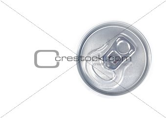 top of view of metal aluminum beverage drink can