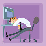 Worker sleeps office omputer