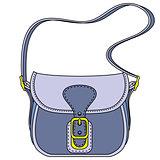 Vector blue ladies handbag