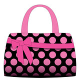 Vector black handbag in pink polka dots