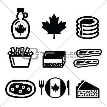 Canadian food icons - maple syrup, poutine, nanaimo bar, beaver tale, tourtière