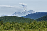 Landscape of Kamchatka: eruption active Zhupanovsky Volcano