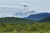 Landscape of Kamchatka: eruption active Zhupanovsky Volcano