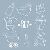 Linear baby boy items set