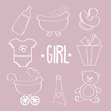 Linear baby girl items set