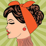 pop art cute retro woman in comics style