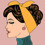 sad pop art cute retro woman in comics style