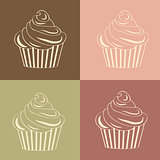 Cupcakes Seamless linear pattern