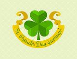Shamrock symbol for saint patricks day with ribbon