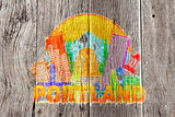 Portland Oregon Skyline Circle Color Wood Background Illustratio