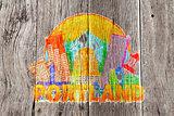 Portland Oregon Skyline Circle Color Wood Background Illustratio