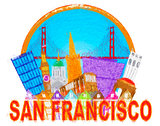 San Francisco Abstract Skyline Golden Gate Bridge Impressionist