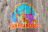 San Francisco Abstract Skyline Wood Background Illustration