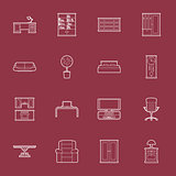 Furniture thin lines icon set