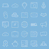 Seo and e-marketing thin lines icon set