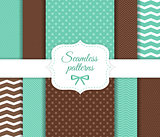 Set of seamless vector geometric pattern