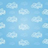 Seamless pattern with hand-drawn clouds