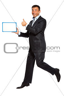 one man running jumping holding whiteboard