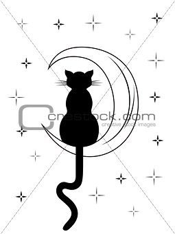 Black cat with long tail sitting on the moon