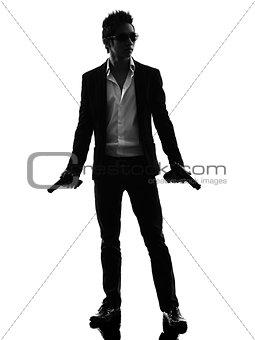 asian gunman killer standing   silhouette