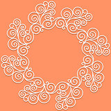 vector white doodle pattern of spirals, swirls and flowers