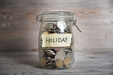 Money jar with holiday label.