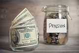 Financial concept with pension label.