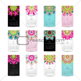 Calendar grid 2015 for your design, floral ornament