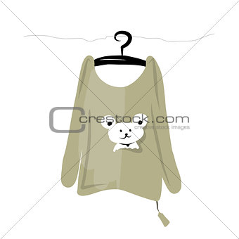 Top on hangers with funny bear design
