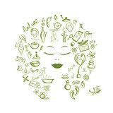 Female head, spa concept for your design