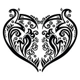 Swirly heart tattoo